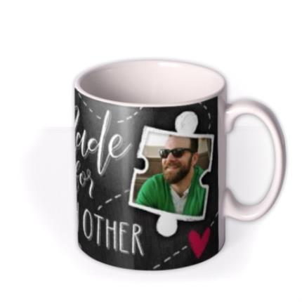 Mugs - Puzzle Piece Made For Each Other Photo Upload Mug - Image 2