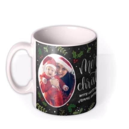 Mugs - Merry Christmas Chalkboard Photo Upload Mug - Image 1