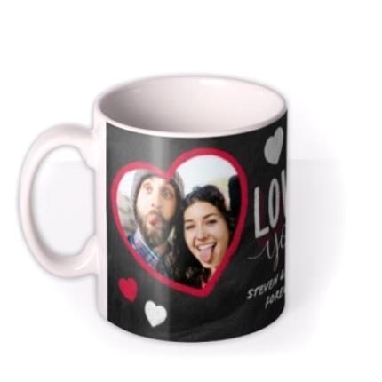 Mugs - Valentine's Day 2 Chalk Heart Photo Upload Mug - Image 1