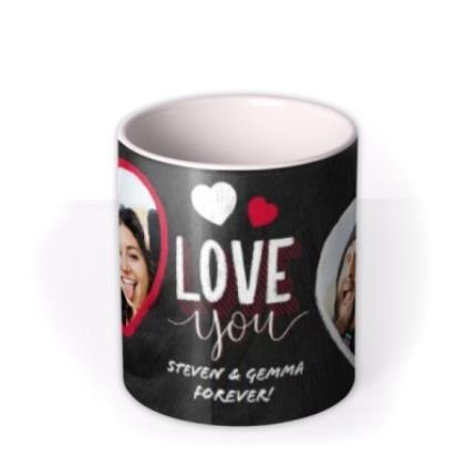 Mugs - Valentine's Day 2 Chalk Heart Photo Upload Mug - Image 3