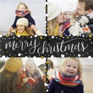 Greeting Cards - Black, White And Gold 4 Family Photo Upload Merry Christmas Card - Image 1