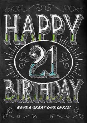 Happy 21st Birthday Images.Black And White Chalk Style Personalised Happy 21st Birthday Card