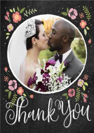 Greeting Cards - Black With Floral Detail Personalised Photo Upload Wedding Day Thank You Card - Image 1