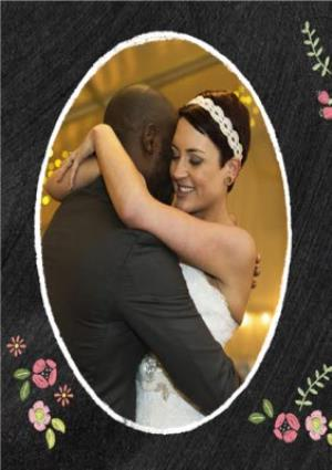 Greeting Cards - Black With Floral Detail Personalised Photo Upload Wedding Day Thank You Card - Image 2