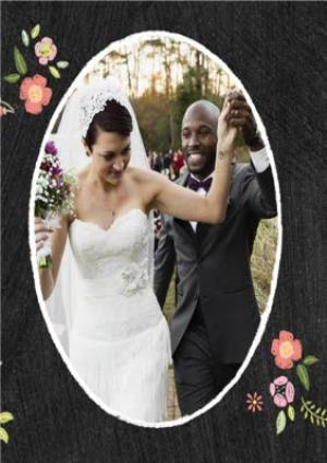 Greeting Cards - Black With Floral Detail Personalised Photo Upload Wedding Day Thank You Card - Image 3