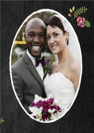 Greeting Cards - Black With Floral Detail Personalised Photo Upload Wedding Day Thank You Card - Image 4