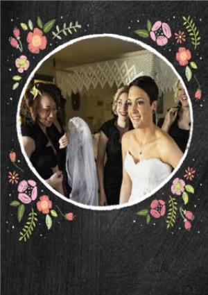Greeting Cards - Black With Floral Detail Personalised Photo Upload Wedding Day Thank You Card - Image 5