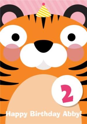 Cartoon Tiger Personalised Happy 2nd Birthday Card