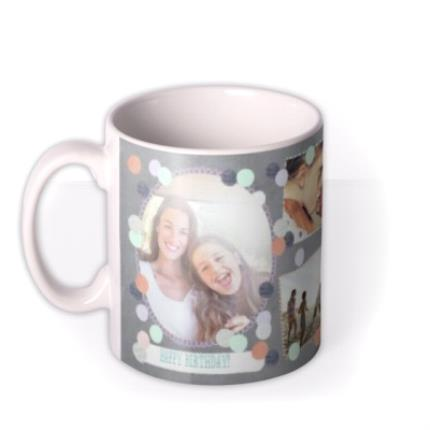 Mugs - Pastel Dots Multi-Photo Personalised Mug - Image 1