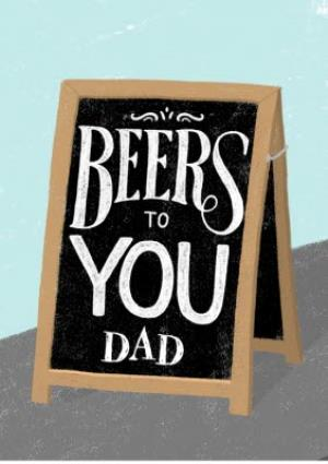 Greeting Cards - Beers To You Dad Sandwich Board Card - Image 1