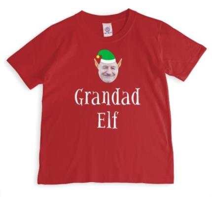 T-Shirts - Elf Themed Grandad Elf Photo Upload Red T Shirt - Image 1