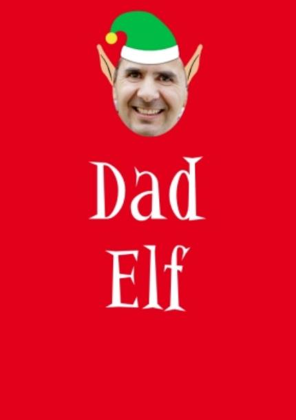 T-Shirts - Elf Themed Dad Elf Photo Upload Red T Shirt - Image 4