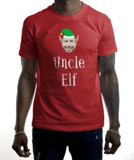T-Shirts - Elf Themed Uncle Elf Photo Upload Red T Shirt - Image 2