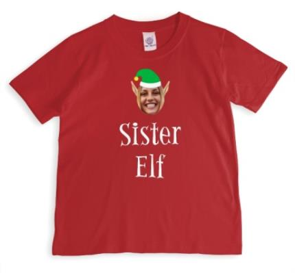T-Shirts - Elf Themed Sister Elf Photo Upload Red T Shirt - Image 1