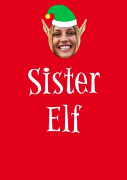 T-Shirts - Elf Themed Sister Elf Photo Upload Red T Shirt - Image 4