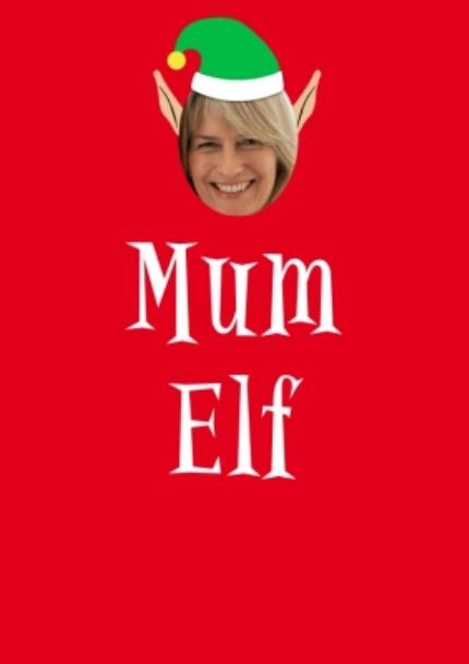 T-Shirts - Elf Themed Mum Elf Photo Upload Red T Shirt - Image 4