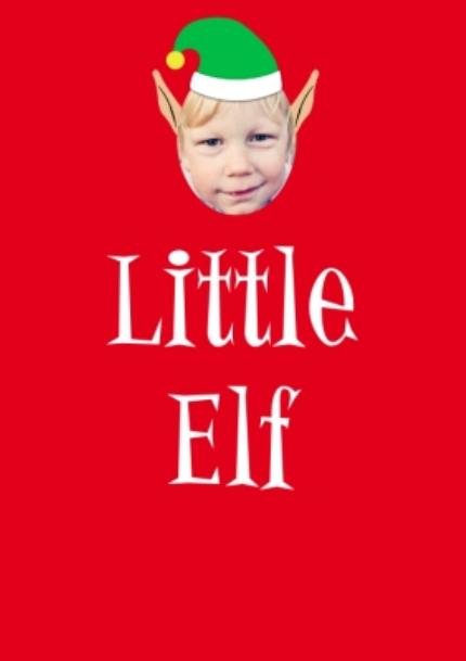 T-Shirts - Elf Themed Little Elf Photo Upload Red T Shirt - Image 4