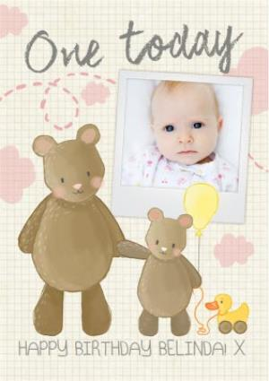 Greeting Cards - Big Bear And Little Bear One Today Personalised Photo Upload Birthday Card - Image 1
