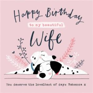 Greeting Cards - Beautiful wife, you deserve the loveliest of days - Disney 101 Dalmatians illustrated birthday card - Image 1