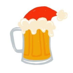 Greeting Cards - Beer Mug With Santa Hat Christmas Card - Image 1