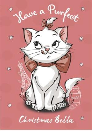 Greeting Cards - Aristocats Personalised Pink Christmas Card - Image 1