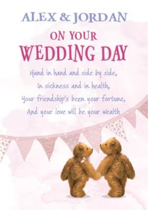 Greeting Cards - Bears Hand In Hand Personalised Wedding Day Card - Image 1