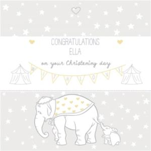 Greeting Cards - Big Elephant And Little Elephant Personalised Christening Day Card - Image 1