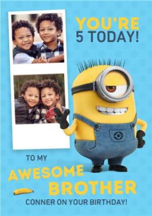 Greeting Cards - Minions Awesome Brother Photo Upload Birthday Card  - Image 1
