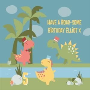 Greeting Cards - Have A Roar-Some Birthday Personalised Happy Birthday Card - Image 1