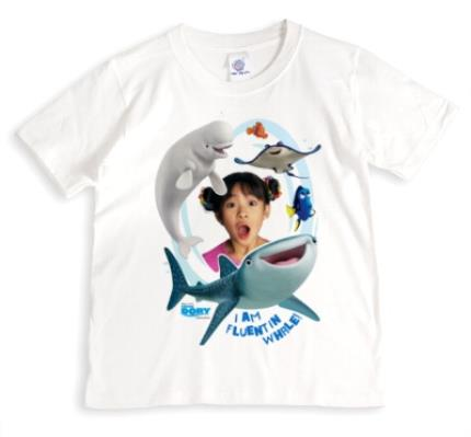 T-Shirts - Finding Dory Fluent in Whale Photo Upload T-shirt - Image 1