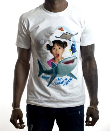 T-Shirts - Finding Dory Fluent in Whale Photo Upload T-shirt - Image 2