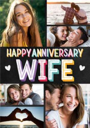 Greeting Cards - Anniversary Photo Upload Card for Wife - Happy Anniversary Wife - Image 1
