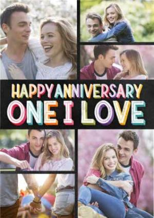 Greeting Cards - Anniversary Photo Upload Card for The One I Love - Happy Anniversary Chalkboard typography lettering - Image 1