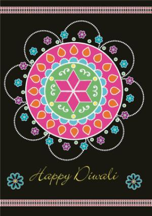 Greeting Cards - Black And Colourful Rangoli Pattern Personalised Happy Diwali Card - Image 1