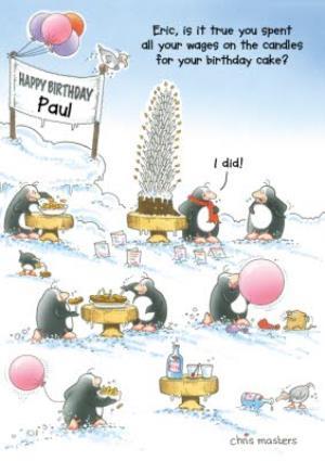 Greeting Cards - Birthday Card - Eric The Penguin - Birthday Cake - Image 1