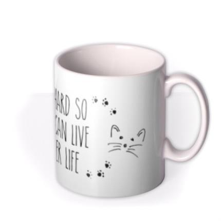 Mugs - Work Hard Cat Personalised Mug - Image 2
