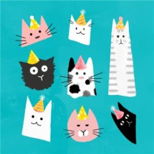 Greeting Cards - Birthday Card - Party Cats  - Image 1