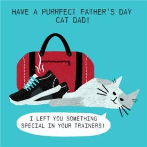 Greeting Cards - I Left Something In Your Trainers Happy Father's Day From The Cat Card - Image 1