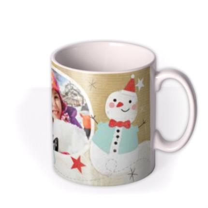Mugs - Merry Christmas Snowman Photo Upload Mug - Image 2