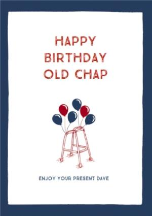 Greeting Cards - Birthday Card - Walking Frame - Birthday Balloons - Old Chap - Image 1