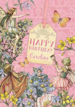 Greeting Cards - Little Flower Fairies And Tag Personalised Happy Birthday Card - Image 1