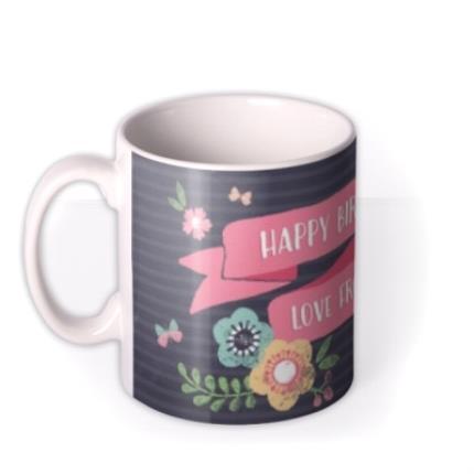 Mugs - Bright Flowers Personalised Happy Birthday Mug - Image 1