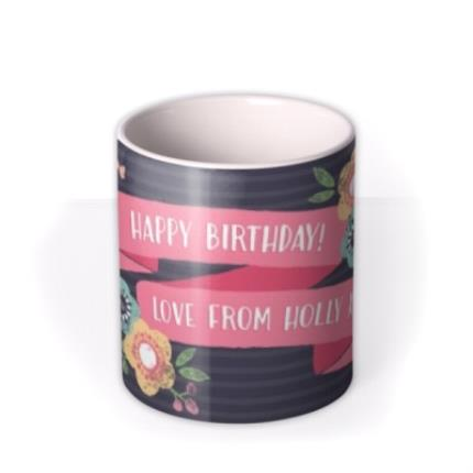Mugs - Bright Flowers Personalised Happy Birthday Mug - Image 3