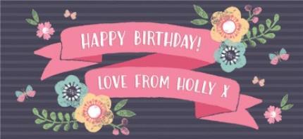 Mugs - Bright Flowers Personalised Happy Birthday Mug - Image 4