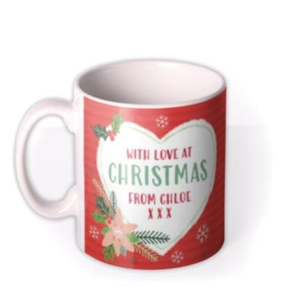 Mugs - Christmas With Love Heart Photo Upload Mug - Image 1