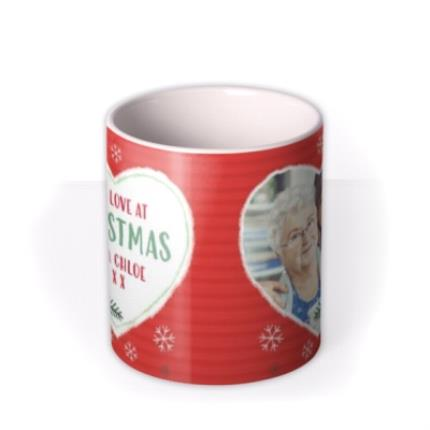 Mugs - Christmas With Love Heart Photo Upload Mug - Image 3