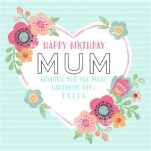 Greeting Cards - Aqua Stripes And Flowers Happy Birthday Mum Card - Image 1