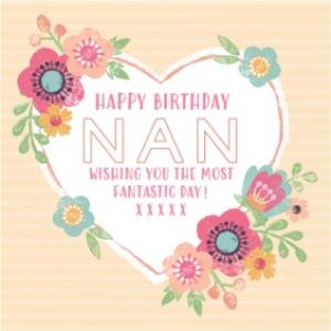 Greeting Cards - Heart And Flowers Happy Birthday Nan Card - Image 1