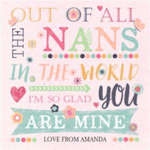 Greeting Cards - Best Nan In The World Personalised Mother's Day Card - Image 1