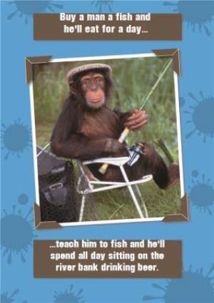 Monkey Fishing Funny Joke Personalised Happy Birthday Card